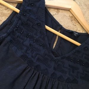 Navy Embroidered Beaded Lucky Brand flowy Tank